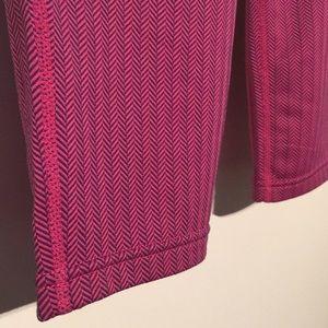 NWT Fila pink and navy herringbone Capri pants.